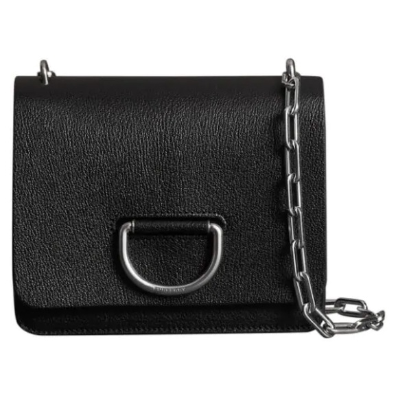 New Burberry Women Black Leather Shoulder Bag